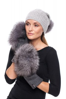 Set of cashmere hat  and wool gloves with pompom (grey)