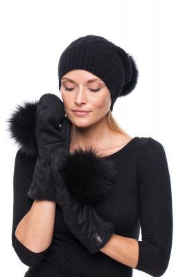 Black wool mittens with black fox pompom