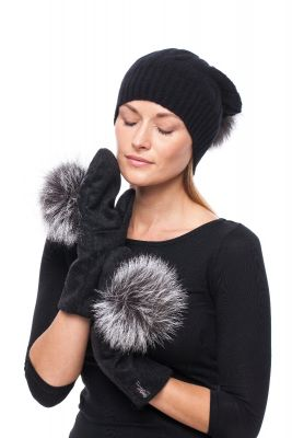 Black wool mittens with blue silver fox pompom