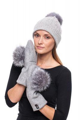 Grey wool mittens with blue silver fox pompom