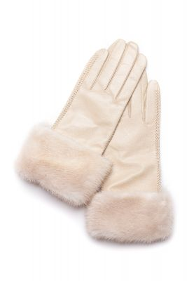 Leather gloves with mink Pearl