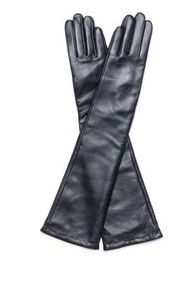 Women's long leather gloves in black