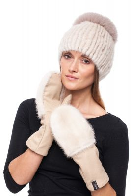 Set of wool gloves and hat with mink natural fur (beige)