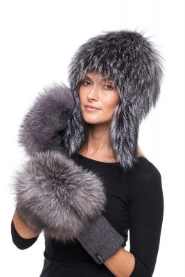 Set of wool gloves and hat with natural fox fur (blue silver)