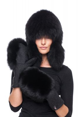 Set of wool gloves and hat with natural fox fur (black)