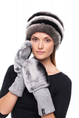 Set of wool gloves and hat with natural rex fur (grey)