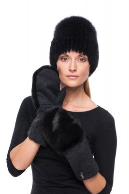Set of wool gloves and hat with  natural mink fur (black)