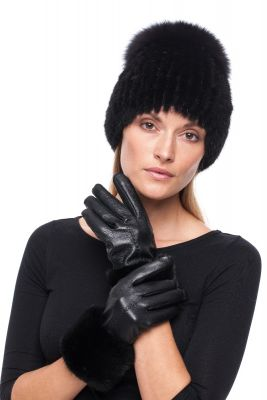 Leather gloves with mink Black