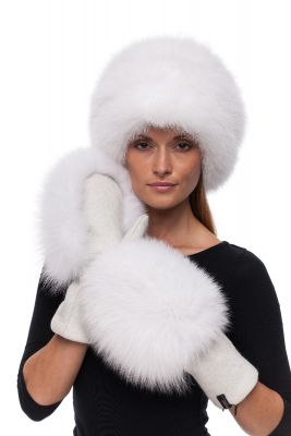 Set of wool gloves and hat with natural  fox fur (white)