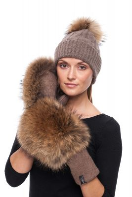 Set of  cashmere hat and wool gloves with pompom (brown)