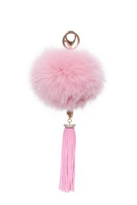 Pendant fox fur pompom decorated with natural leather tassel