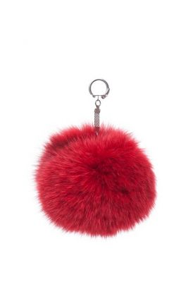 Pendant fox fur pompom small