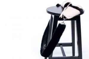 Set of mink fur bumbag and mink fur belt (pink/black)