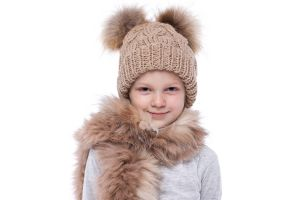 Knitted beige wool hat with pompoms raccoon