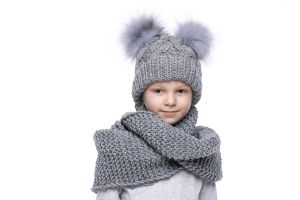 Knitted grey wool hat with pompoms blue silver