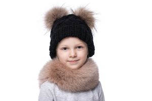 Knitted black wool hat with pompoms raccoon