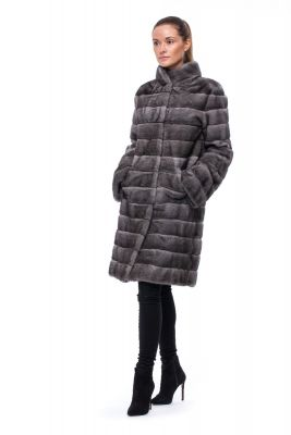 Mink fur coat dark grey