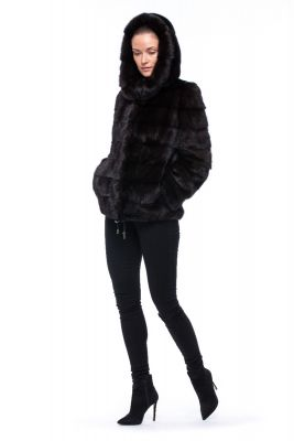 Mink fur coat brown (Mahogany)
