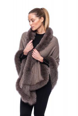 Cashmere shawl beige with fox Brown