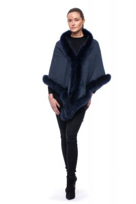 Cashmere shawl black with fox Blue