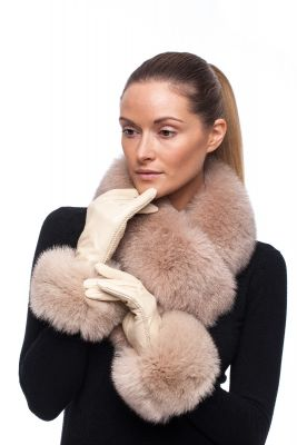 Leather gloves with fox fur beige