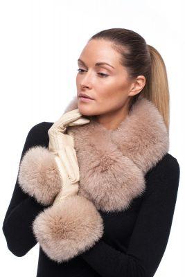 Fox fur scarf, beige