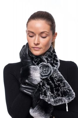 Leather gloves with REX rabbit fur black