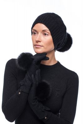 Set of cashmere hat and wool gloves with fox fur pompom (black)
