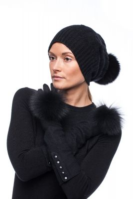 Set of cashmere hat and wool gloves with pompom (black)