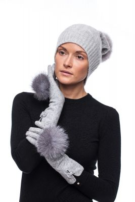 Set of  wool gloves and cashmere hat natural fox fur with pompom (grey)