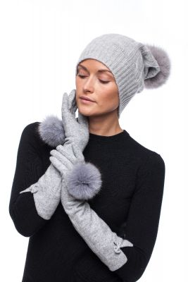 Long wool gloves with blue silver fox pompoms