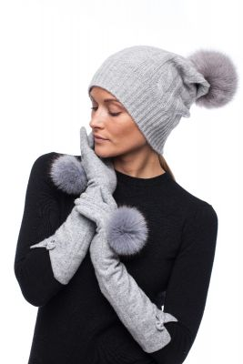 Set of  wool gloves and cashmere hat with natural fox fur pompom (grey)