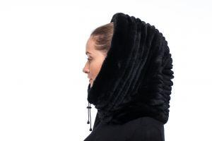 REX fur hood in black