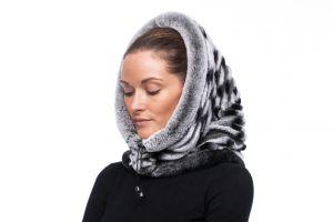 Hood with chinchilla grey REX fur