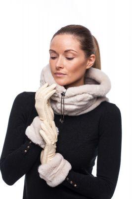 Leather gloves with REX rabbit fur beige