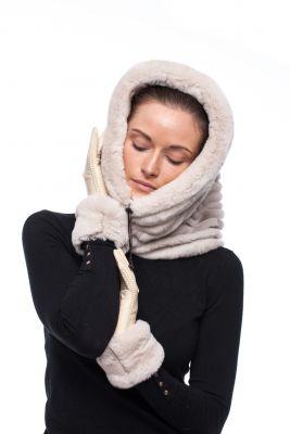 Hood with chinchilla beige REX fur