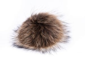 Raccoon fur pompom with metal clip