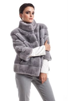 Mink fur coat grey
