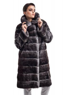 REX natural fur coat grey chinchilla