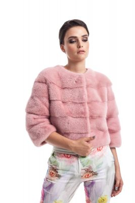 Mink fur coat pink