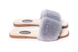 Slippers with mink fur in grey