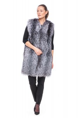Long Perforated vest of blue silver fox