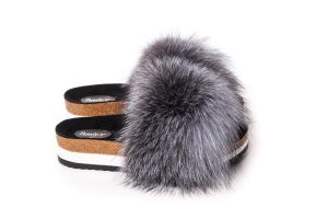 Slippers with fox fur in blue silver