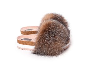 Slippers with fox fur in golden blue silver