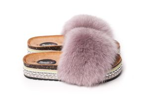 Slippers with fox fur dusty rose