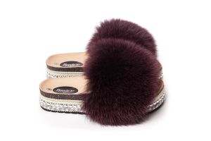 Slippers with fox fur bordoaux