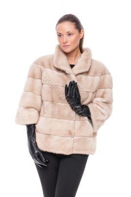 Mink fur coat beige (Palomino)