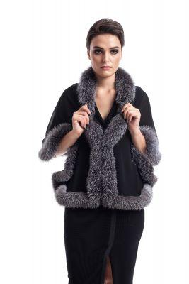 Silk scarf black with fox Blue silver