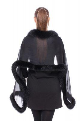 Silk scarf black with fox Black