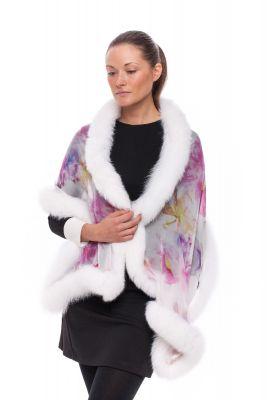 Silk scarf white with fox White